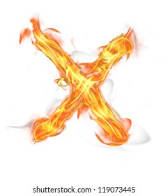 """Fire letter """"X"""" isolated on white background"""