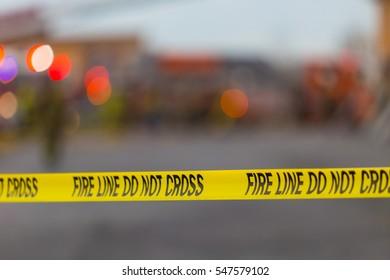 Fire Line Do Not Cross Yellow Tape