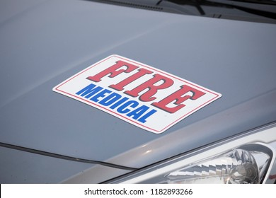 Fire Medical sign on a grey vehicle at the fire camp for the Terwilliger Fire in Oregon.
