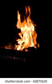 fire in metal brazier