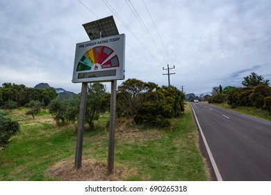 Fire monitor sign in regional Australia, powered by solar cell