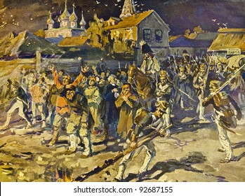 """Fire in Moscow 1812. Illustration by artist A.P. Apsit from book """"Leo Tolstoy """"War and peace"""", publisher - """"Partnership Sytin"""", Moscow, Russia, 1914."""
