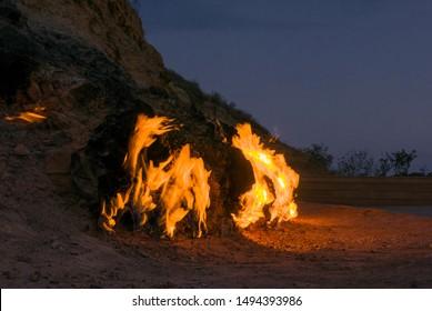 Fire mountain in Azerbaijan, natural methane gas soaking through the ground