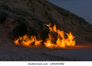 Fire mountain, natural gas blaze from the surface