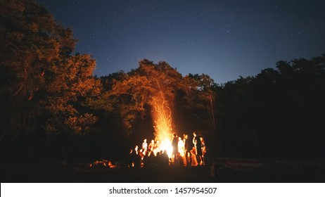 The fire at night. Summer mood