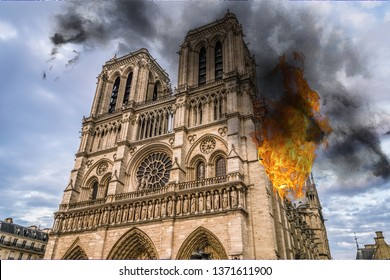 Fire in Notre Dame Cathedral burning, reconstruction