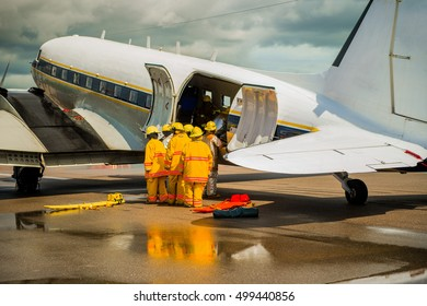 Fire officials prepare, practice rescue aircraft fire.