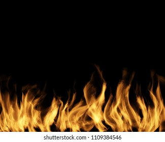 Fire on the black isolated background.
