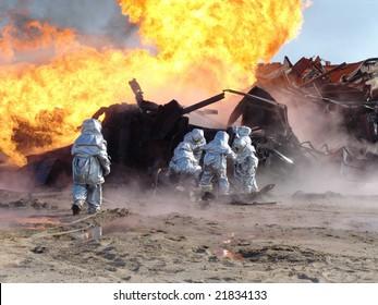fire on an oil well