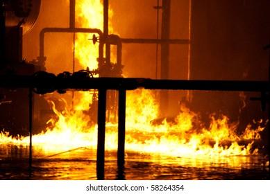 fire on water in industrial fire