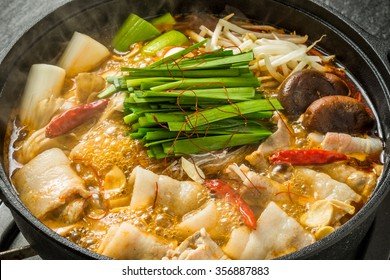 Fire pan Chinese food dishes prepared with medicinal herbs hot pot