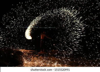 fire party showing on the beach  at thailand , kohlan island, pattaya city, chalianglom kitchen , date 3 august 2019