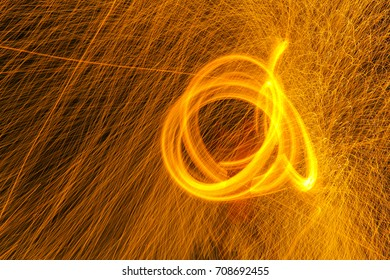 fire performance or Fire show amazing at night