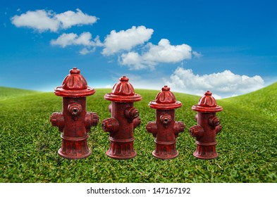 fire pipe on green field