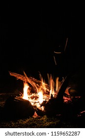 fire places. camp fire. burning branches