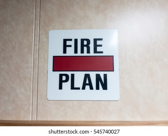Fire plan sign on offshore jack up drilling rig wall.