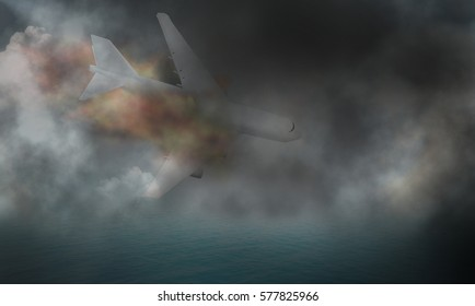 fire and plane crash 3d render