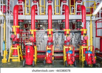 Fire protection system, Deluge valve and fire water header to distribute high pressure water to risk area for firefighting.