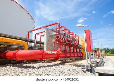 Fire protection system of fuel oil storage tank area in power plant