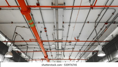 Fire protection system under the post-tension ceiling.