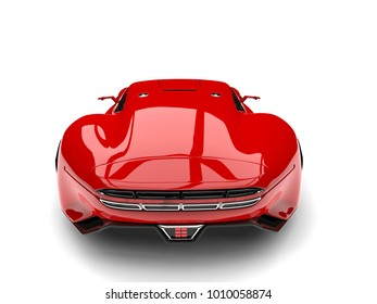 Fire Red Modern Super Sports Car   Back View   3D Illustration