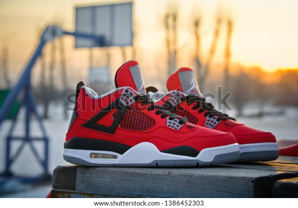 Fire Red Nike Air Jordan Iv Stock Photo (Edit Now) 1386452303