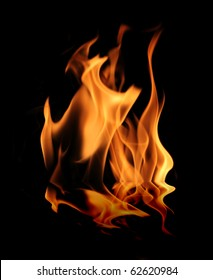 Fire with reflection, isolated on black background