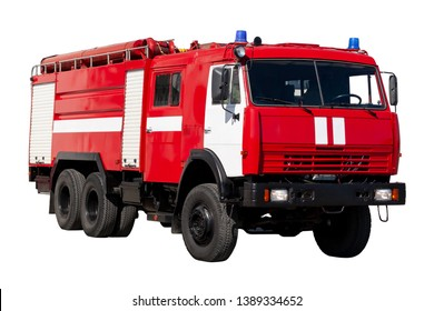 Fire rescue vehicle. Big red rescue car of Russia, isolated on white and clipping path.