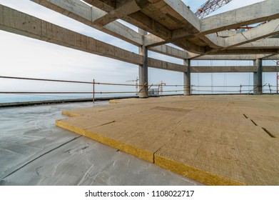 Fire resistant rock wool board on the office roof