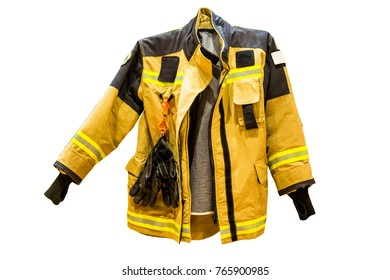 Fire resistant suit for firefighter on white background