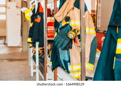 Fire retardant clothing worn by firefighters in case of emergency.