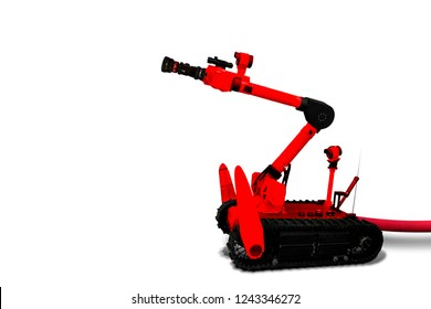 Fire Robot and rescue isolated on white background with clipping path