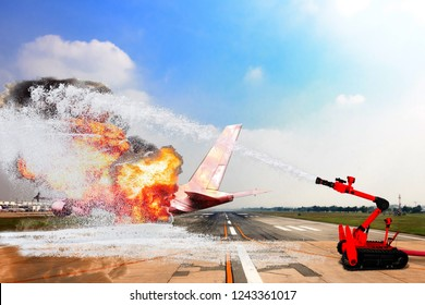 Fire robot and search and rescue robot unit during battle fire on aircraft crashing with exploding engine on fire