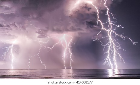 Fire at sea Lightning Storm