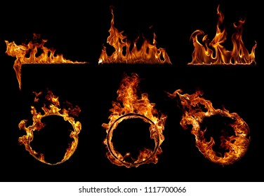 Fire set in black