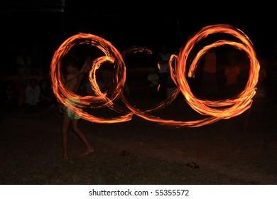 Fire show at night krabi thailand.