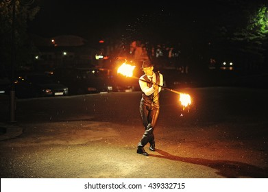 Fire show at the night on wedding ceremony