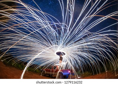 Fire show at night with star, Chiang mai, Thailand
