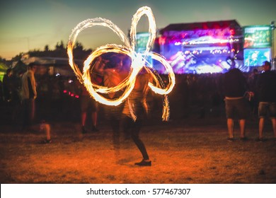 Fire show on music festival.