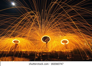 The Fire Show under the moon