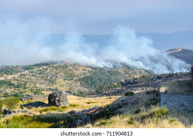 Fire, smoke and burned tress at Serra da Estrela, Portugal