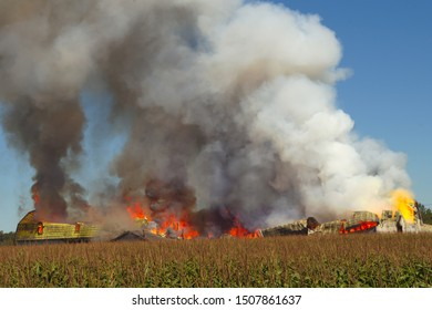 fire and smoke flame burn farm disaster background