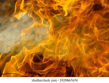 Fire and smoke Realistic isolated fire effect on smokey background
