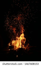Fire with spark and black background