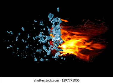 Fire with sparks and ice cubes explosion