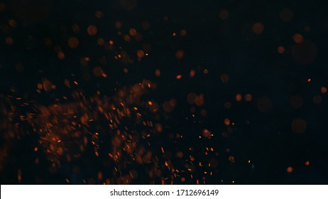 Fire sparks isolated on black background