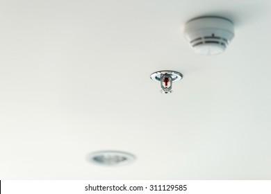 fire sprinkler on the ceiling