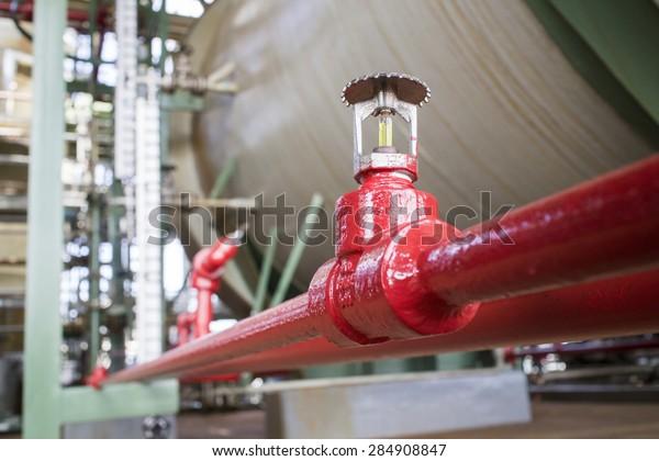 Fire sprinkler in petrochemical plant.