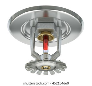 Fire sprinkler with vakuum sealed glass tube isolated on white background - 3D illustration