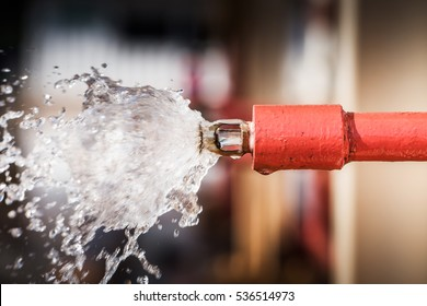 Fire sprinklers and red pipe are part of an overall safety protocol for fire and life safety. sprinkler of water for emergency fire case in petrochemical refinery and oil and gas is safety equipment.